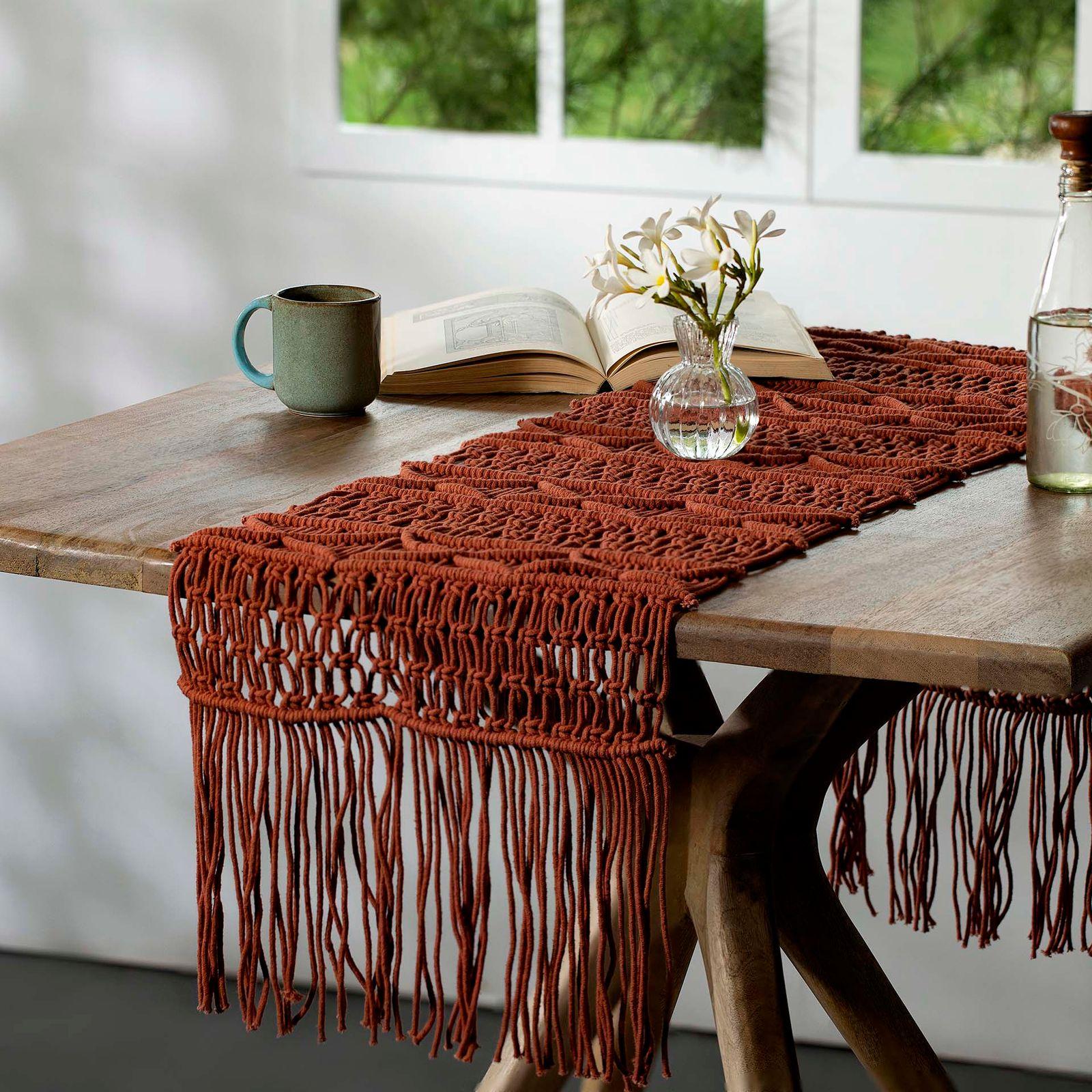 Handmade Cotton Terracotta-Colored Macramé Table Runner
